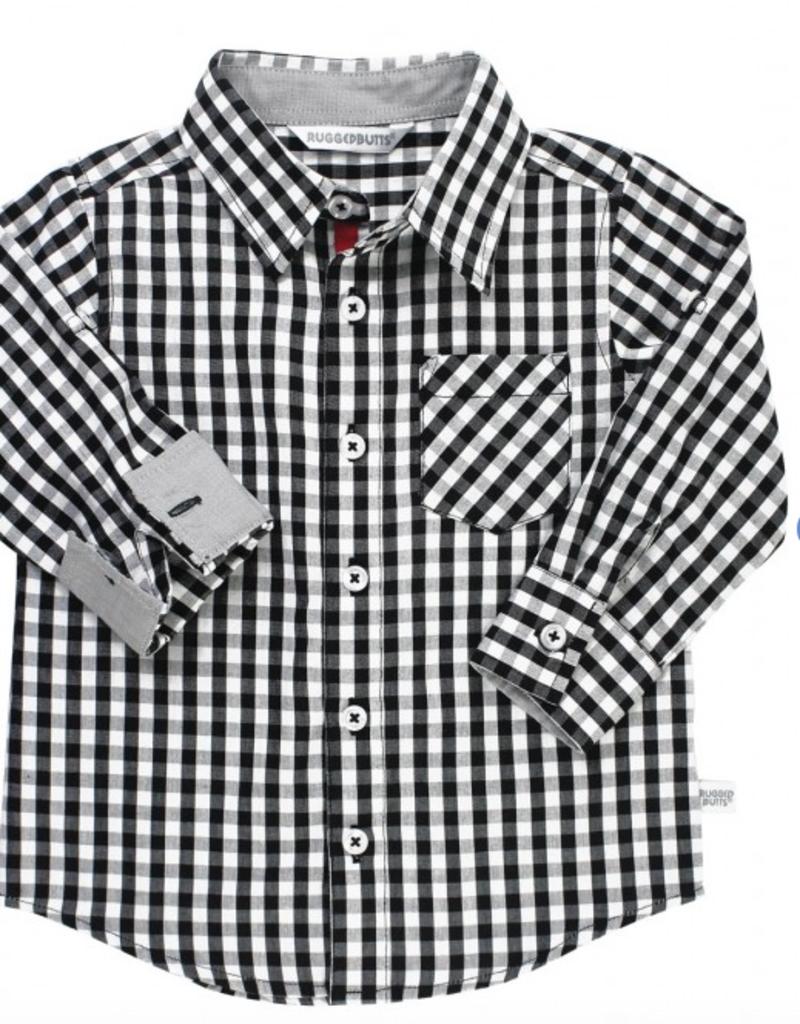 Ruffle Butts Black/White Gingham Button Down Shirt 2T-5T