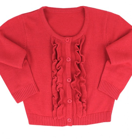 Ruffle Butts Ruffled Cardigan Red 3/6M
