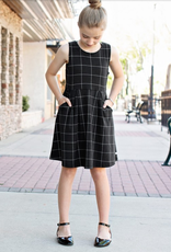 Black Windowpane Ponte Knit Dress 5, 6