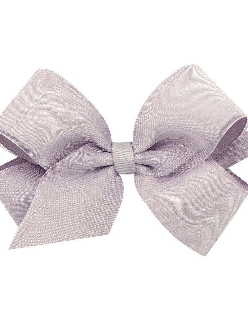 Wee Ones Med. Organza Overlay Bow Grey