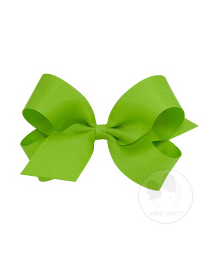 Wee Ones Small Grosgrain Bow Apple Green