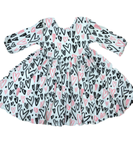 Mila & Rose Twirl Dress Hand Drawn Hearts 2-3T