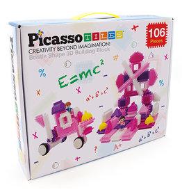 Picasso Tiles Pink Castle Bristle Shape Blocks 106 pc