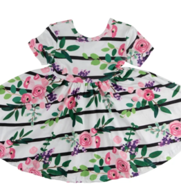 Mila & Rose Short Sleeve Twirl Dress Floral Stripe 2T, 4T