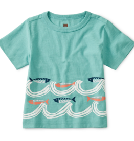 Tea Collection Fish Waves Baby Graphic Tee 3/6-9/12M