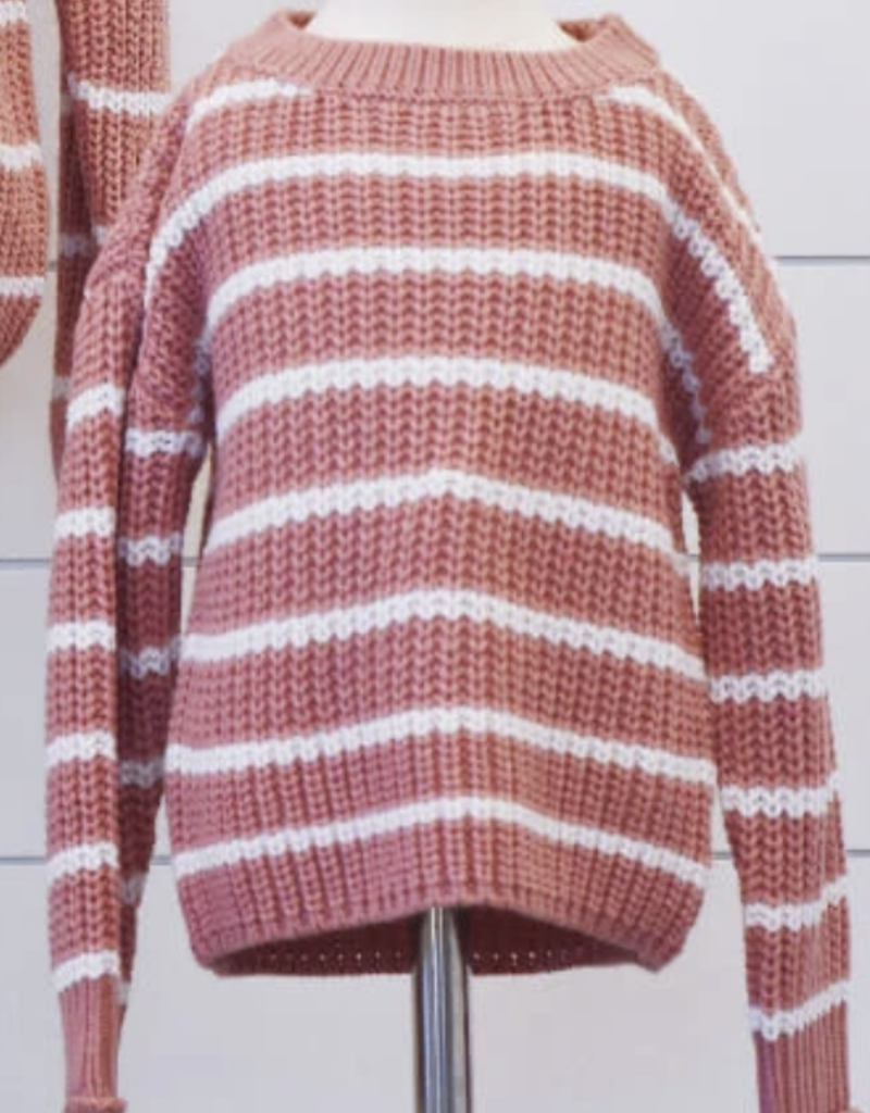 Bailey's Blossoms Brooke Sweater Dusty Mauve/White Striped