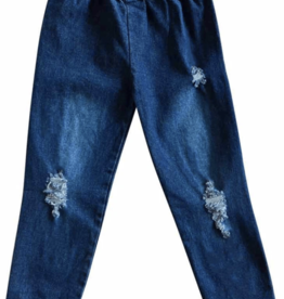 Bailey's Blossoms Distressed Denim Jeggings Dark Wash 2-4T