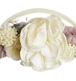 Bailey's Blossoms Ivory/Mauve Floral Stretch Headband