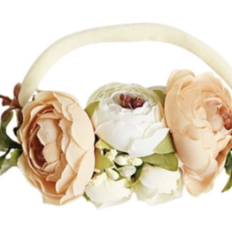 Bailey's Blossoms Ivory/Peach Floral Stretch Headband