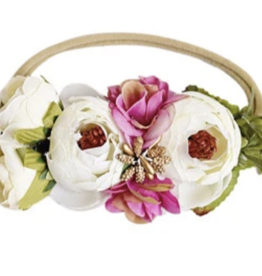 Bailey's Blossoms Ivory/Rose Floral Stretch Headband