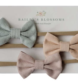 Bailey's Blossoms Leather Bow Headband Pack Seafoam/Peach/Pink