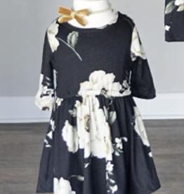 Bailey's Blossoms Frida Scoop Bottom Dress Black Floral 2T