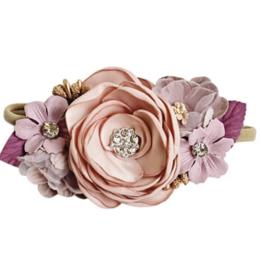 Bailey's Blossoms Mauve/Lavender Floral Stretch Headband