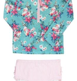 Ruffle Butts Fancy Me Floral L/S Zip Rash Guard Bikini 3T