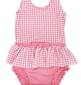 Ruffle Butts Rose Gingham Skirted 1 Piece 2-3T