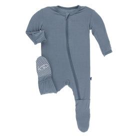 Kickee Pants Solid Footie w/Zip Dusty Sky Preemie