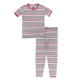 Kickee Pants Short Sleeve PJ Set Chemistry Stripe 2-4T