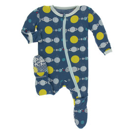 Kickee Pants Footie w/zip Twilight Planets 0/3-6/9M