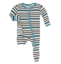 Kickee Pants Footie w/zip Neptune Stripe 0/3-9/12M