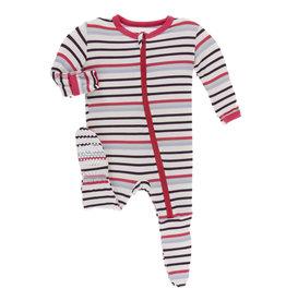 Kickee Pants Footie w/zip Chemistry Stripe 0/3-9/12M