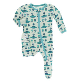 Kickee Pants Footie w/zip Aloe Aliens 6/9-9/12M