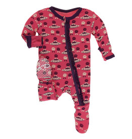Kickee Pants Classic Ruffle Footie w/zip Red Ginger Aliens 0/3-6/9M
