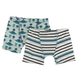 Kickee Pants Boxer Briefs S/2 Flying Saucers/Neptune Stripe S(6/8)