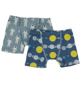 Kickee Pants Boxer Briefs S/2 Astronaut/Twilight Planets S(6/8)