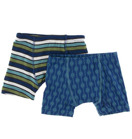 Kickee Pants Boxer Briefs Set Grasshopper Stripe/ Lattice 3/4T