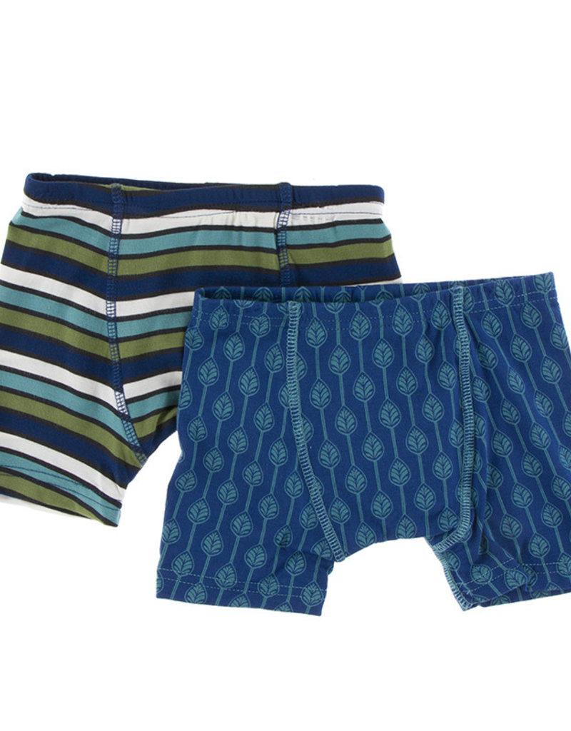 Kickee Pants Boxer Briefs Set Botany Grasshopper Stripe/Navy Leaf Lattice XS(5/6), S(6/8)