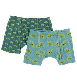 Kickee Pants Boxer Briefs Set Ivy Mini Trees/Neptune  S(6/8)