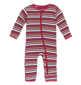 Kickee Pants Coverall w/Zip Botany Red Ginger Stripe 12/18M