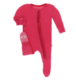 Kickee Pants Classic Ruffle Footie w/Zip Red Ginger 6/9M