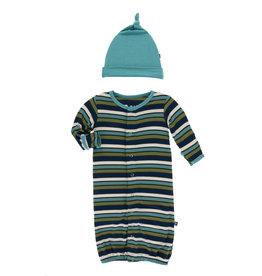 Kickee Pants Gown Conv Knot Hat Set Grasshopper Stripe 0/3M
