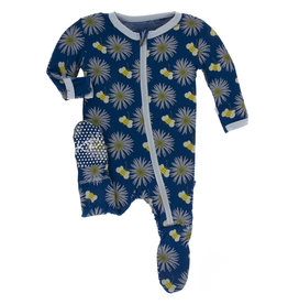 Kickee Pants Footie w/Zip Navy Cornflower Bee 6/9M, 9/12M