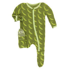Kickee Pants Footie w/Zip Grasshopper Sweet Peas Preemie-NB