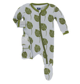 Kickee Pants Footie w/Zip Dew Philodendron 12/18M