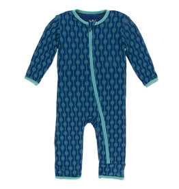 Kickee Pants Coverall w/Zip Navy Leaf Lattice 9/12M