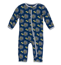 Kickee Pants Coverall w/Zip Navy Cornflower Bee 6/9-9/12M