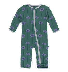 Kickee Pants Coverall w/Zip Ivy Poppies 6/9-9/12M