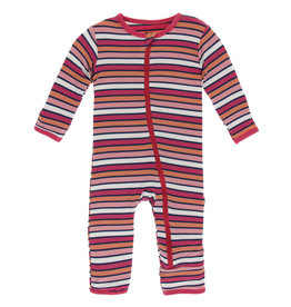 Kickee Pants Coverall w/Zip Botany Red Ginger Stripe 6/9-9/12M