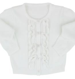 Ruffle Butts Ruffled Cardigan Winter White 6/12-12/18M