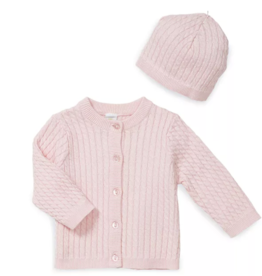 Little Me Huggable Cable Sweater 2 pc Lt Pink 3-9M
