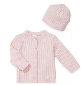 Little Me Huggable Cable Sweater 2 pc Lt Pink 3M, 6M