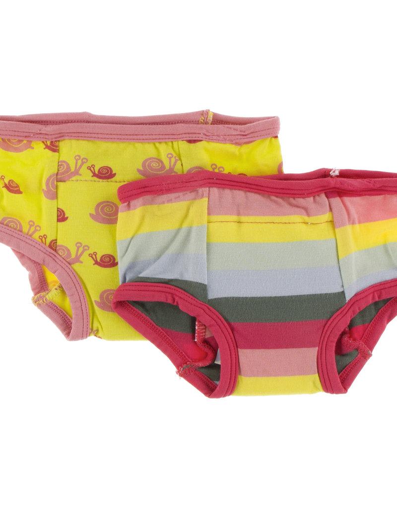 Kickee Pants Training Pants Set Banana Snails/Biology Stripe 3/4T