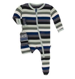 Kickee Pants Footie w/Zipper Zoology Stripe 6/9M