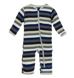 Kickee Pants Coverall w/Zip Zoology Stripe 12/18M