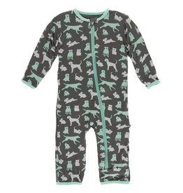 Kickee Pants Coverall w/Zip Stone Domestic Animals 9/12M