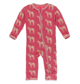 Kickee Pants Coverall w/Zip Red Ginger Unicorns 6/9-9/12M