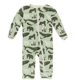 Kickee Pants Coverall w/Zip Aloe Endangered Animals 3/6-9/12M